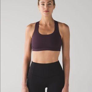 lululemon athletica Intimates & Sleepwear - Lululemon Fast Lane Bra Size 4 Black Cherry NWOT